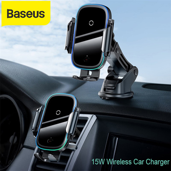 Baseus 15W Qi Car Wireless Charger Dual Mode Intelligent Infrared Fast Wireless Charging Car Mount for Air Car Phone Holder