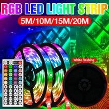 Bande lumineuse RGB étanche, ruban Flexible, 5m 10m 15m 20m, 12v dc, variable, Fita 5050