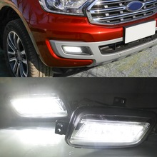 цена на For Ford Everest 2016 2017 2018 2019 Turn Yellow Signal Relay Waterproof Car DRL 12V LED Daytime Running Light LED Fog Lamp