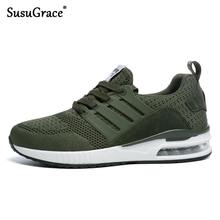 SusuGrace Coppie di Estate Scarpa Da Tennis Traspirante Lace-Up da Uomo E Donna di Runningg Scarpe Nero Bianco Verde Outdoor Sport Scarpe Da Jogging(China)