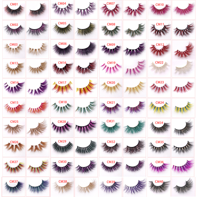 New color 3D luxury mink lashes wholesale natural long individual thick fluffy colorful false eyelashes Makeup Extension Tools 2