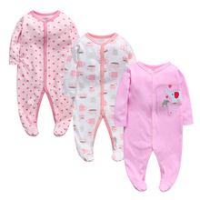 100%cotton Summer Baby Boy Newborn Jumpsuit Long Sleeve Cotton Pajamas 0-12 Months Rompers Clothes 3pcs/lot