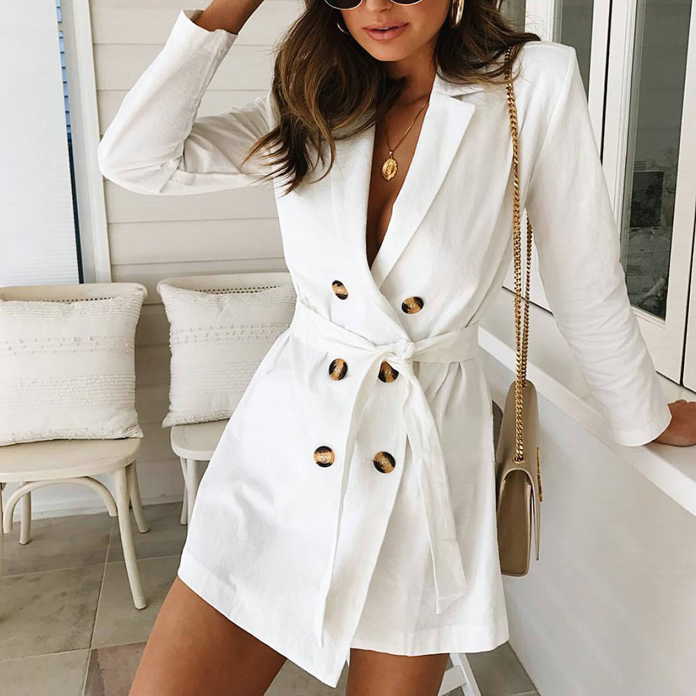 Female Coat Women's Windbreaker тренч Ropa Mujer Ladies Long Sleeve Button Solid Stylish Duster Blazer Jacket Coat H4