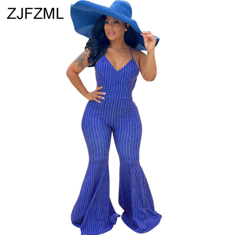 Blue White Striped Rompers Womens Jumpsuit Spaghetti Strap Sleeveless Bell Bottom Playsuit Summer Cross Backless Party Bodysuit