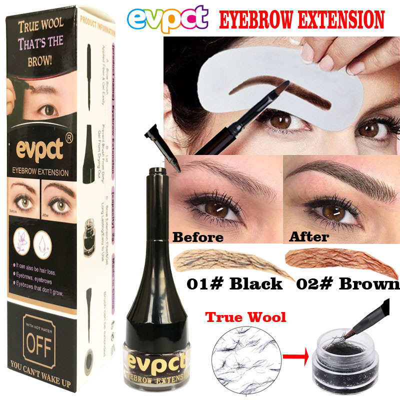 Unisex 3D Eyebrow Extensions Gel Waterproof Eyebrow Pomade Fiber Brush Makeup Black Brown Eyebrow Gel Tattoo Women TSLM2(China)