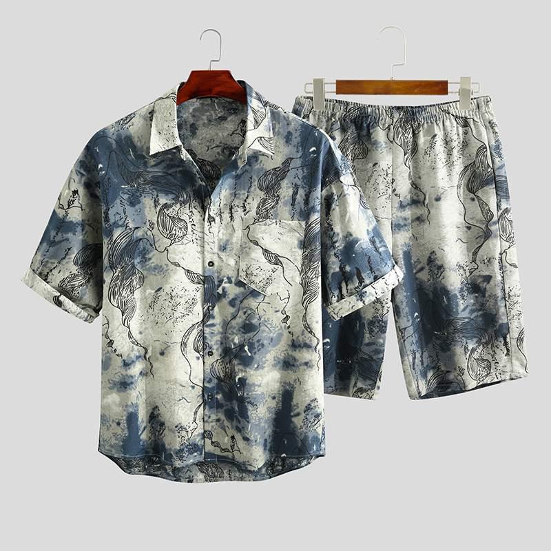 2020 Fashion Men Sets Half Sleeve Lapel Shirt Short Elastic Bottoms Vintage Pockets Cotton Men Summer Streetwear Suits Plus Size
