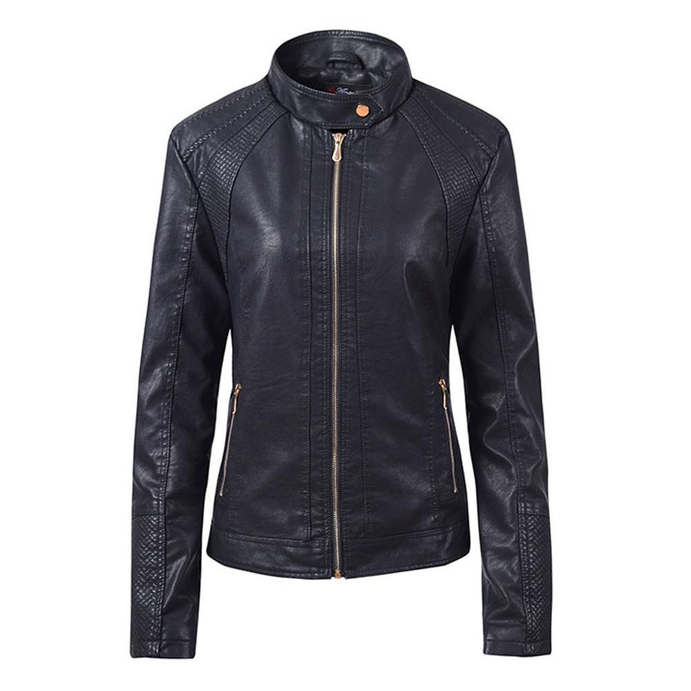 Noir décontracté hiver chaud manteau mode Outwear Slim Zipper à manches longues Bomber vestes pour 2019 femme Streetwear PU manteau