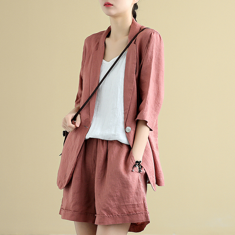 Loose Suit Jacket Women Tops Wide Leg Shorts Summer Suit 2 Pieces Set Short And Blazer