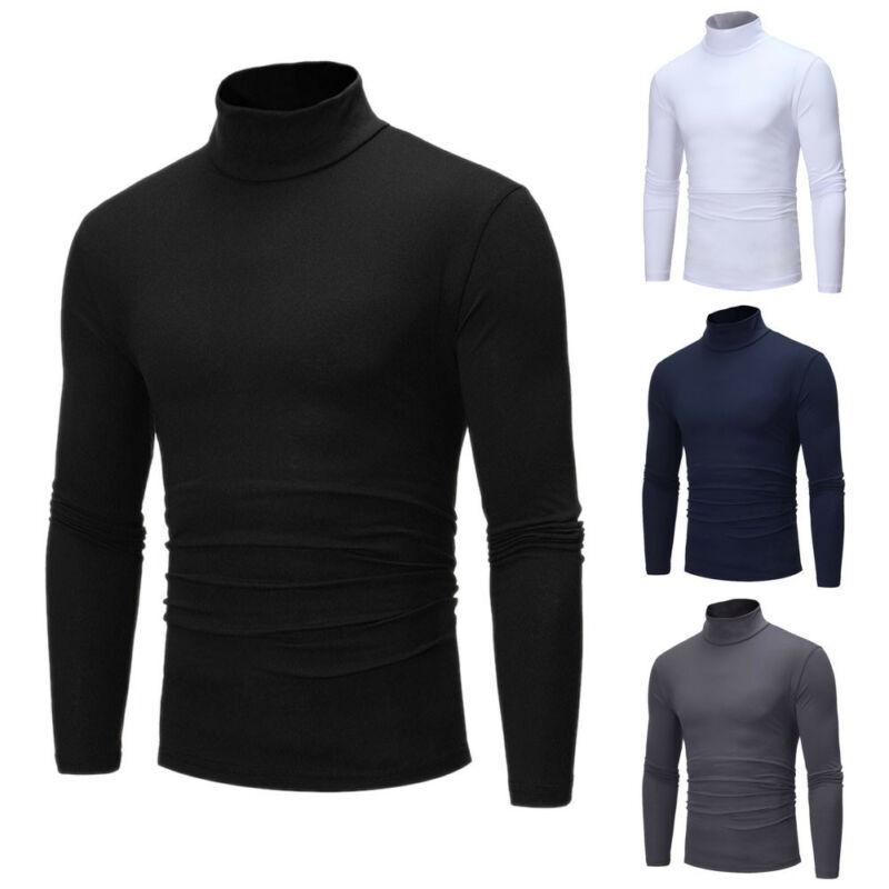 Men Long Sleeve Thermal Cotton High Collar T Shirt Turtle Neck Knitted Undershirt For Men Winter Warm Mens Tops
