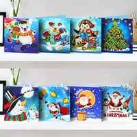 8pcs Pintura Diamante Cartão do Natal Papai Noel Boneco de Neve Diamante Bordados DIY Pintura Decoração de Natal Para Casa
