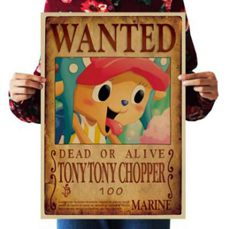 51.5X36Cm Home Decorสติ๊กเกอร์ติดผนังกระดาษVintage One Piece Wantedโปสเตอร์Animeโปสเตอร์Luffy Chopper Wanted