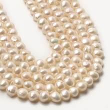 Perles d'eau douce naturelles AA pour femmes, fabrication de bijoux, Bracelets de bricolage, perles de culture blanches rondes irrégulières, 15 pouces