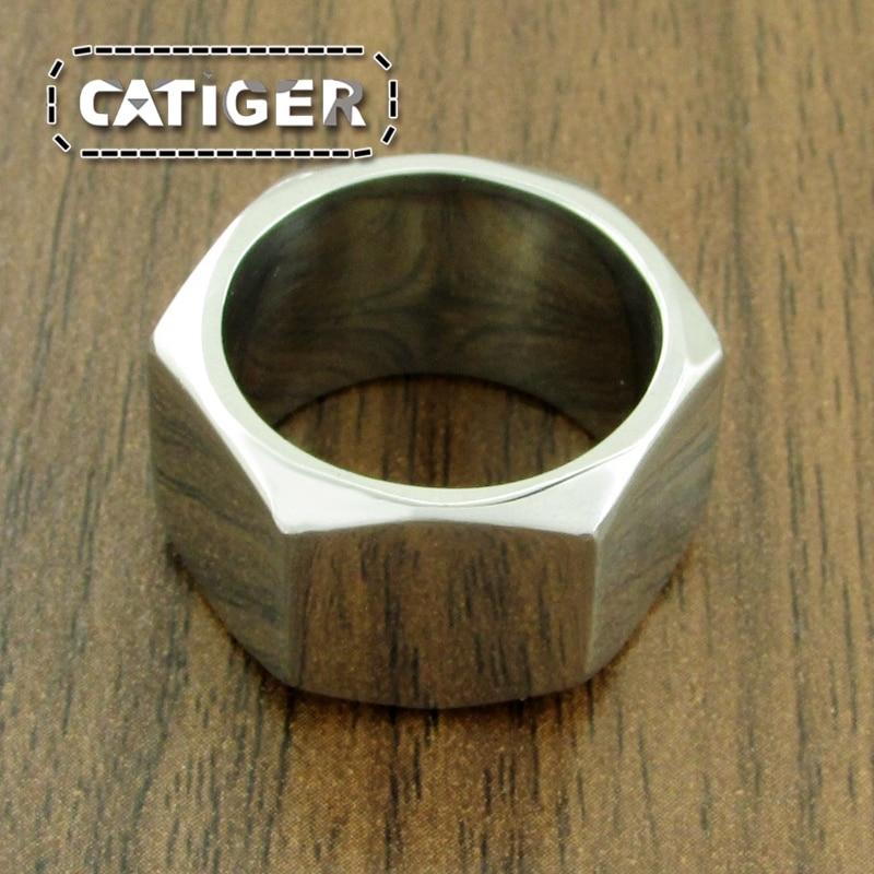 Бесплатная доставка, винтовая гайка из нержавеющей стали 316L в стиле панк, Размер 7 ~ 13, байкерское кольцо, серебристый цвет, яркий полированны...