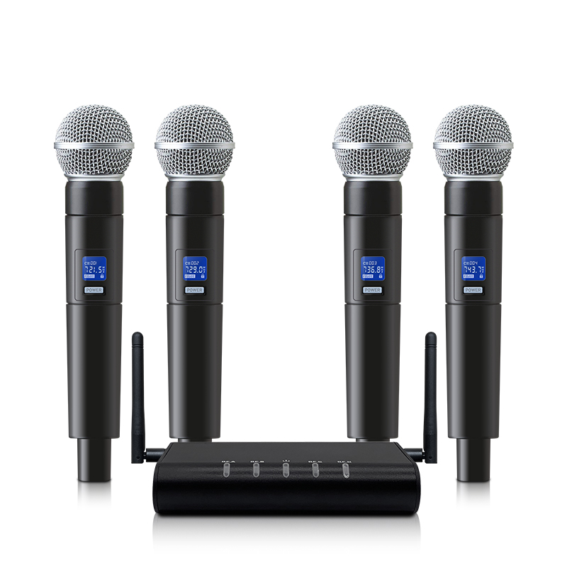 Professional Wireless Microphone System UHF 4 Handheld Microphone Karaoke Family KTV Stage Performance