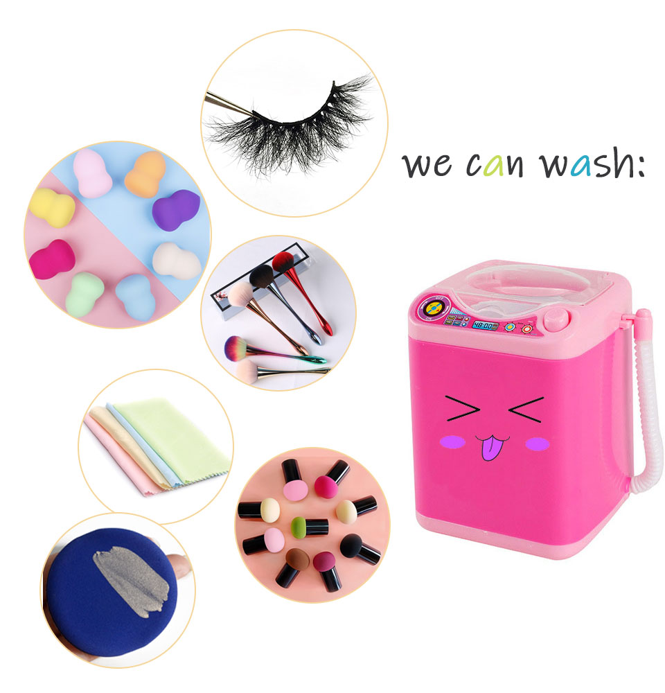 NEW Mini Electric Makeup Cosmetic Brush Cleaner Washing Machine Simulation Toys Powder Puff Washer Beauty Cleaning Make Up Tools
