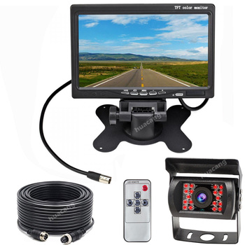 "12V-24V RV Trailer Truck 18LEDs Waterproof Night Vision Backup Camera 7"" TFT LCD HD Reversing Rear View Monitor Parking System"