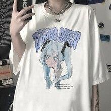 Camiseta esttica Harajuku... camiseta Kawaii con estampado de personajes párr mujer de ropa de calle popular coreana... camiseta negr