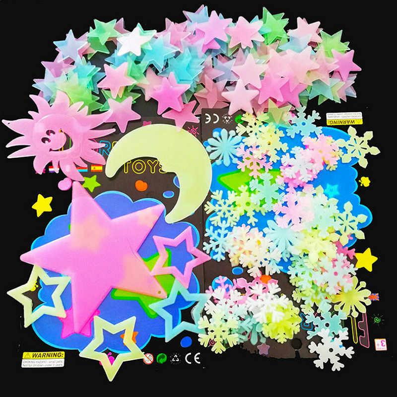 3D Sterne Leuchten in der Dunkelheit Leuchtende auf Wand Aufkleber für Kinder Zimmer Wohnzimmer Wand Aufkleber Hause Dekoration Poster sterne und Mond