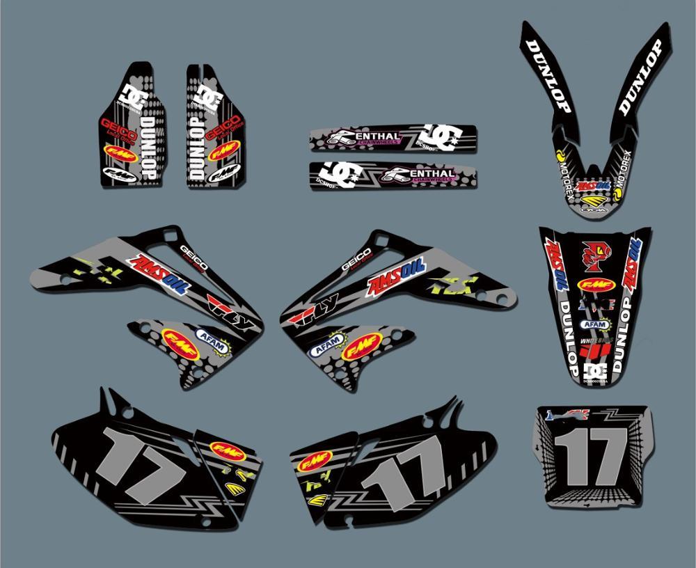 6 новых стилей, Бесплатные персонализированные графические фоны команды, наклейки, наборы наклеек для Honda CRF450 CRF450R 2002 2003 2004 CRF 450 450R