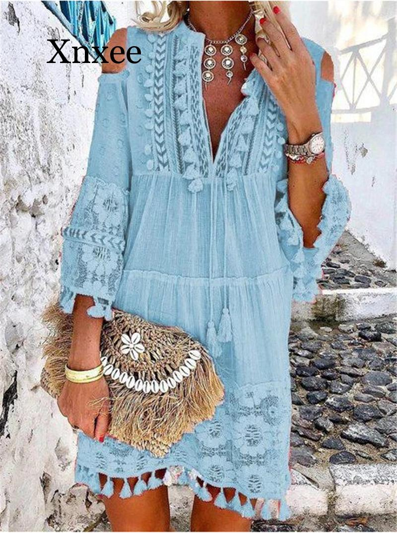 Beach Boho White Lace Fashion EU Boho Mini Dress Women Autumn Pop Tassel Loose V Neck Dresses Lady Beach Female Clothing