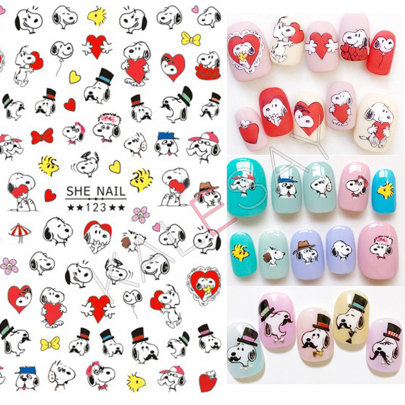 Popular Cartoon Dog Nail Art Stickers For Manicure Decoration Decals For  Design Nail Stickers Adhesive For Nail Transfer Foil