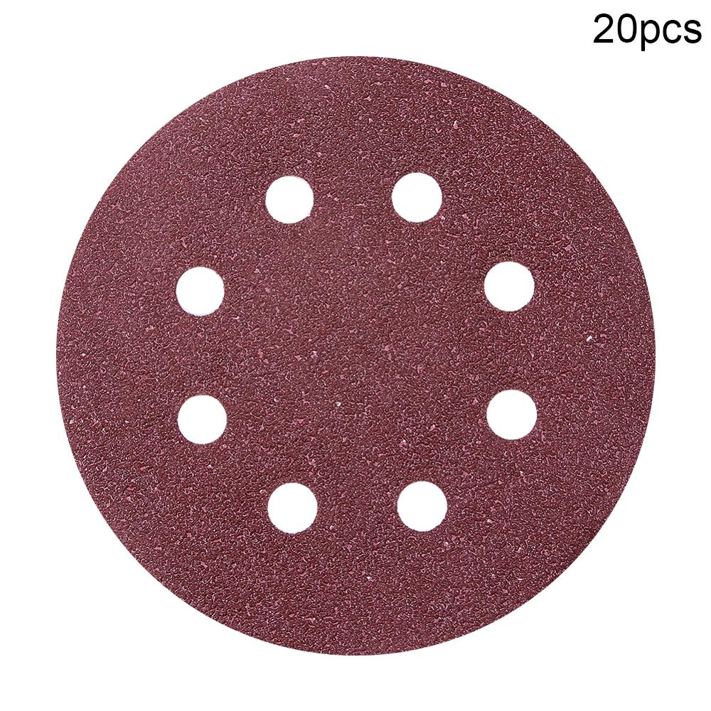 20pcs 125mm Flocking Round Sandpapers 8-Hole 40/ 120/ 150/ 180/ 240/320 Grit Hook And Loop Sanding Disc Abrasive Tool For Polish