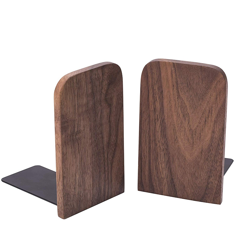 2Pcs Wooden Bookends With Metal Base Heavy Duty Black Walnut Book Stand With Anti-Skid Dots For Office Desktop Or Shelves