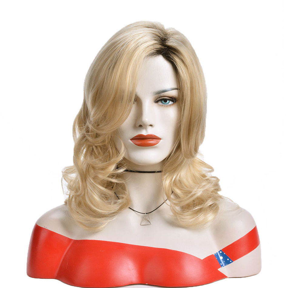 Alizing Big Wave Roll Wig Ombre Black Blonde Long Big Curl Golden Hair Synthetic High Temperature Fiber Hair Woman Cos Play 9431