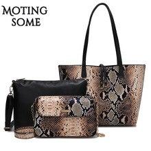 1 conjunto/3 pçs saco composto feminino pele de cobra couro tote saco serpentina impressão grande shopper grandes sacos ombro mensageiro 2019 novo