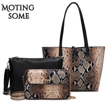 1set/3pcs Women Composite Bag Snake Skin Leather Tote Bag Serpentine Print  Large Shopper Big Bags Shoulder Messenger 2019 New