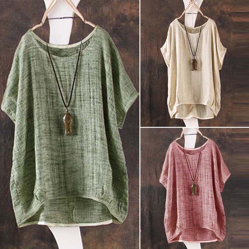 Casual Womens Summer Cotton Linen Plain Loose Blouse Shirt Jumper Ladies Girl Batwing Asymmetrical Tops Sundress Clothes Blouses