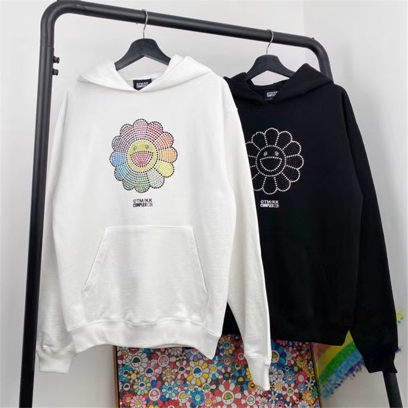 2020FW Thick Diamond Sun Flower Takashi Murakami Hoodie Men Women 1:1 High Quality Sweatshirts Foam Takashi Murakami Pullovers