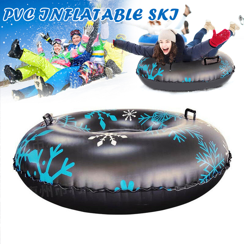 Snow Tube For Winter Fun Inflatable 47 Inch Heavy Duty Snow Sleds Skiing Supplies C55K Sale