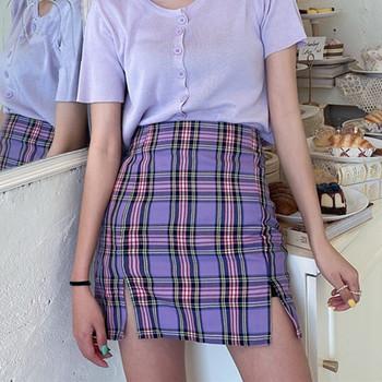 Koreański kolorowy spódnica w kratę kobiet 2020 Student szykowne krótkie spodnie spódnice moda seksowne spódniczki Mini wiosna lato kobiece spódnice tanie i dobre opinie QEENRAAN Octan Poliester Osób w wieku 18-35 lat Ołówek NONE WOMEN empire Plaid Anglia styl Powyżej kolana Mini
