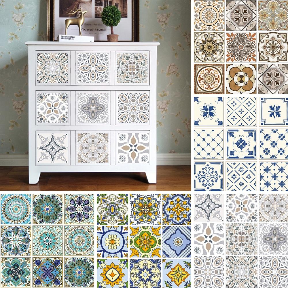 10Pcs Vintage Moroccan Self-adhesive Bathroom Kitchen Wall Floor Tile Sticker