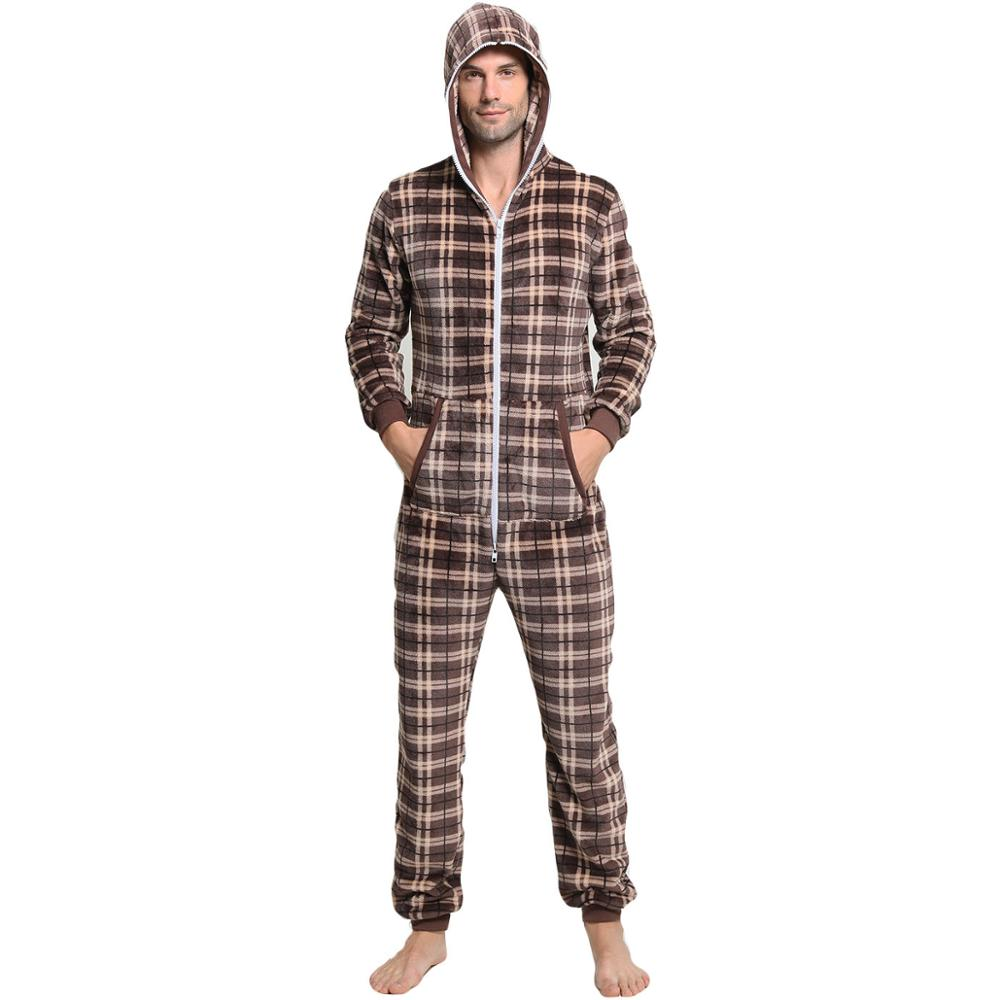 Tmall Quality Plaid Pajama Hombre Invierno Hooded Long Sleeve Christmas Winter Pijama Homme Hiver Pyjama Onesie Onepiece For Adu