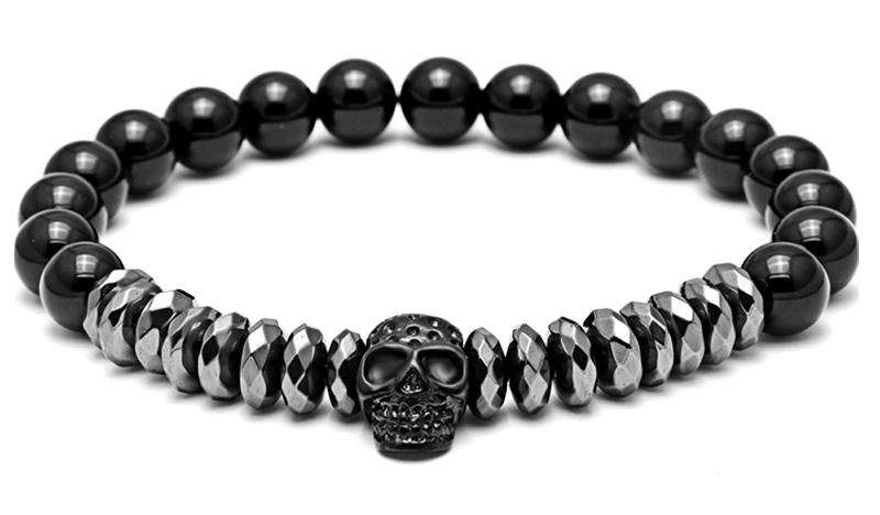 Men Luxury Antique Black crown stone bead Bracelets