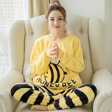 Drop shopping New winter Women pajamas thick long-sleeved Girl ladies cute cartoon bee flannel sets for female