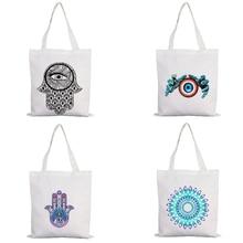 Evil Eyes Shopping Bags Free Shipping for Women 2020 Canvas Shopper Bag Woman Boutique Beach 2021 Designer Handbags Cloth Fabric