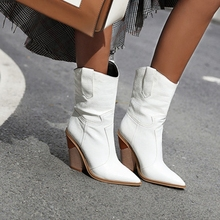 цены Winter Warm Boots Short Female Western Boots Party Dancing Shoes Woman Chunky Heels Big Size Women Leather Ankle Boots
