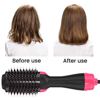 цена на Chignon Dropshipping 2 IN 1 One Step Hair Dryer Hot Air Brush Hair Straightener electric Curling Comb brush hair styling tools