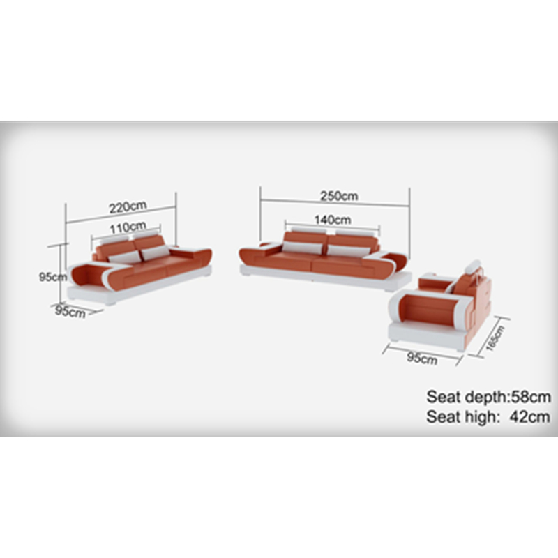 high end modern   living room  1+2+3 sectional genuine leather sofa 5