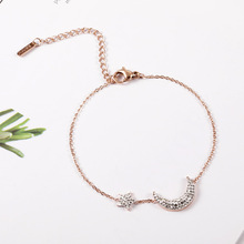 Ailodo Korean Moon Star Charm Bracelets For Women Rose Gold Color Never Fade Titanium Steel Fashion Jewelry Gift LD383