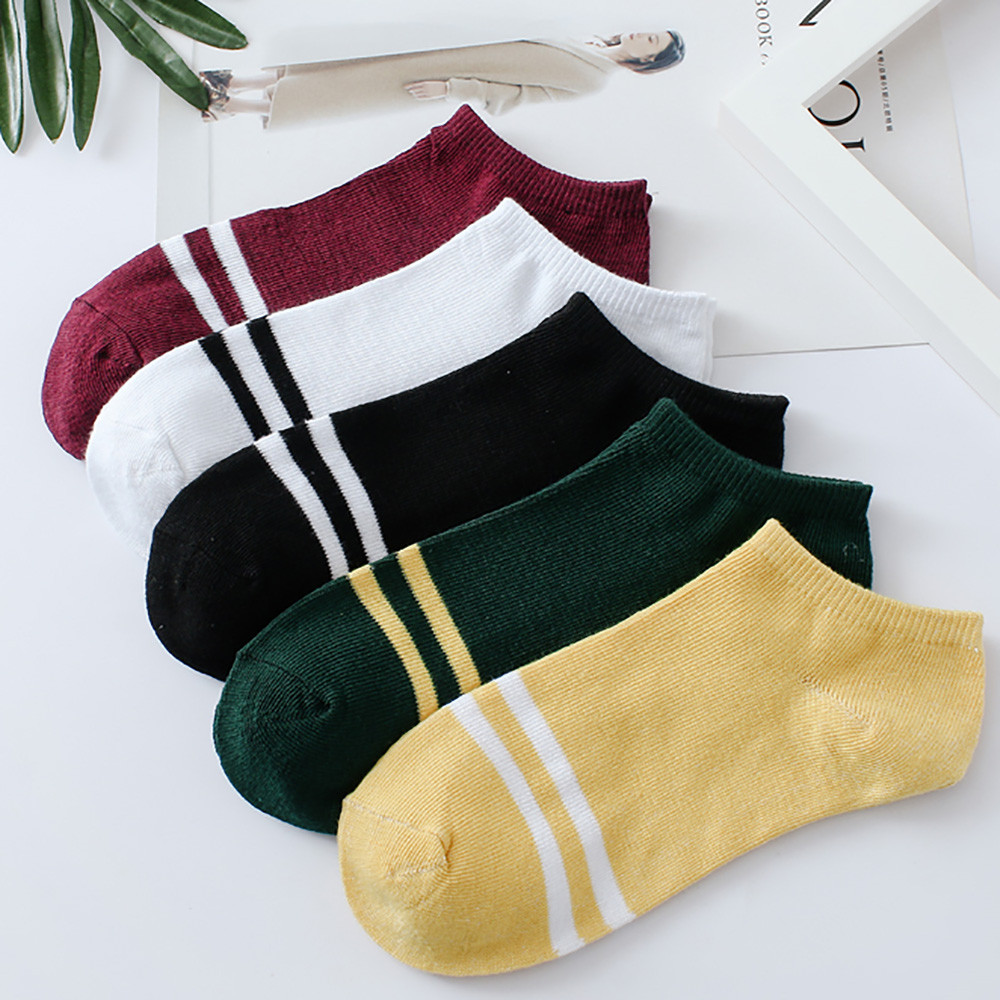1Pairs Unisex Stripe Comfortable Cotton Sock Simple Autumn And WinterWarm Elastic Slippers Short Ankle Socks Medias de Mujer
