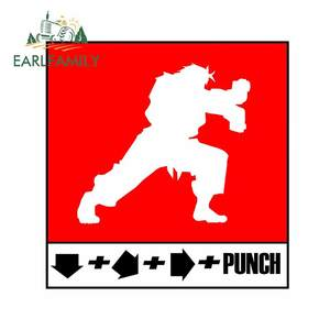 EARLFAMILY 13cm x 12.6cm for Fighter Combo Punch Arcade Car Sticker Vinyl Anime Personality Occlusion Scratch Window Trunk Decal