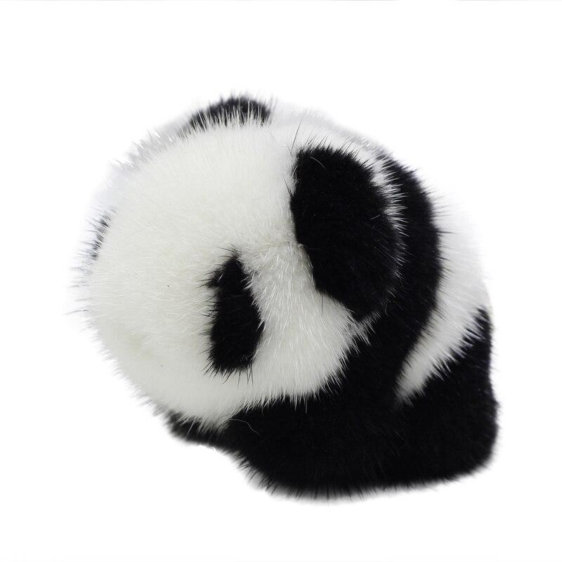 New style super cute mink fur panda doll pendant crawling version cute panda pendant bag ornament car key chain