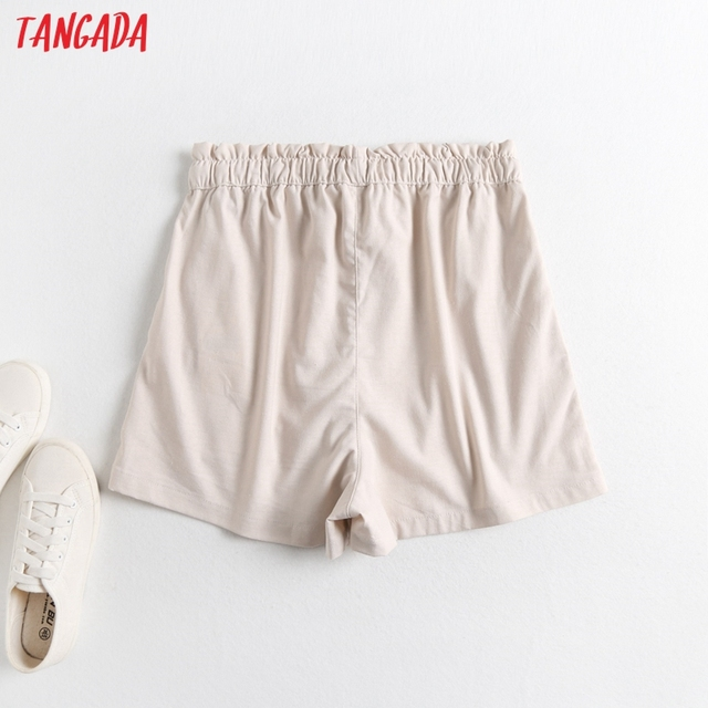 Tangada 2021 Summer Women Vintage Cotton Linen Shorts with Slash Pockets Female Retro Casual Shorts Pantalones 2E18 5