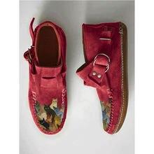 Tamanho grande novo inverno 2020 feminino confortável gato dos desenhos animados impresso couro fivela casual botas de tornozelo plano-6 roxo