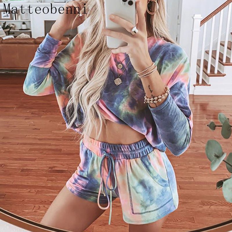 Women Spring casual Tie dye Two Piece Outfits Tracksuit Long Sleeve Top and Shorts Suits Summer 2pcs Matching Sets Lounge Wear|Women's Sets| - AliExpress