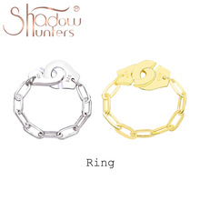 Women Jewelry Link-Ring Handcuffs SHADOWHUNTERS Luxury Brand High-Quality Real Silver